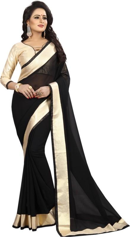 Active Printed Daily Wear Chiffon Saree(Black)