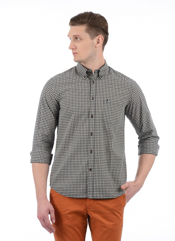 Indian Terrain Men Checkered Casual Beige Shirt