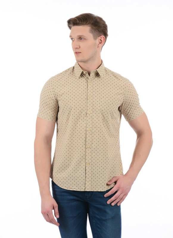 Indian Terrain Men Printed Casual Beige Shirt