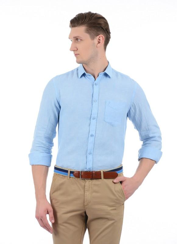 Indian Terrain Men Solid Casual Blue Shirt