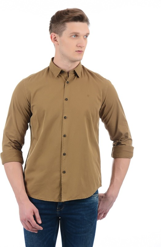 Indian Terrain Men Solid Casual Green Shirt