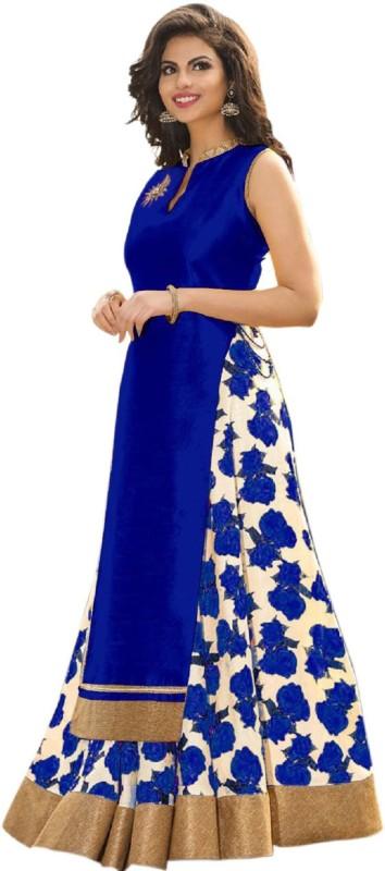 Aika Printed Lehenga & Crop Top(Blue, Beige)