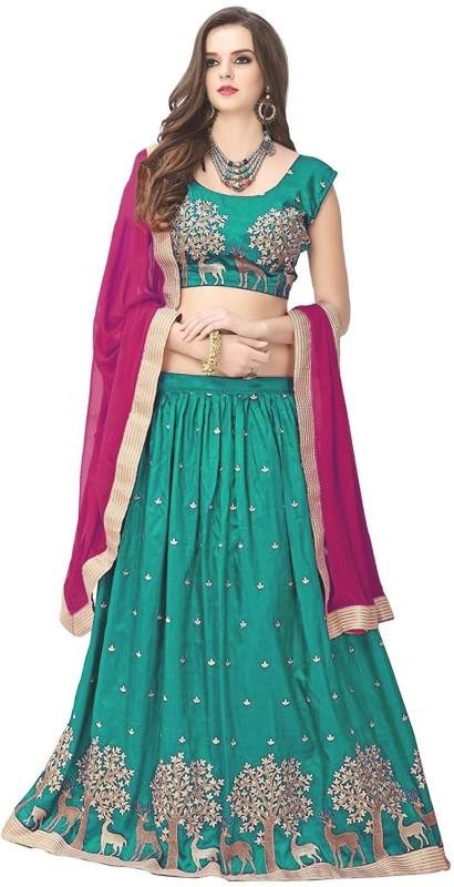 Omstar Fashion Embroidered Semi Stitched Lehenga, Choli and Dupatta Set(Light Blue)