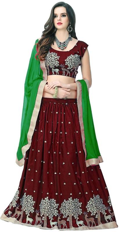 Omstar Fashion Embroidered Semi Stitched Lehenga, Choli and Dupatta Set(Brown)