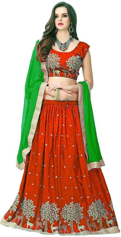 Omstar Fashion Embroidered Semi Stitched Lehenga, Choli and Dupatta Set(Orange)