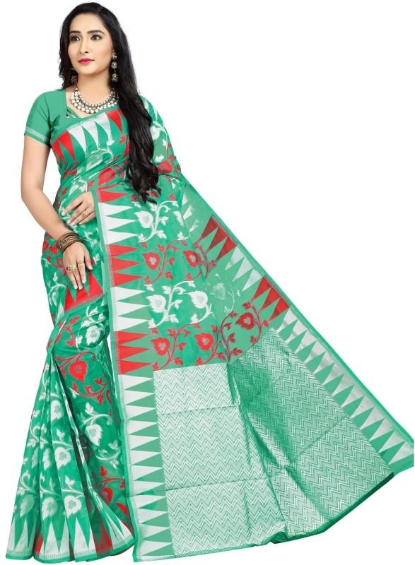 JagannathSaree Woven Jamdani Silk Saree(Green, White)