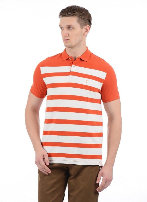 Indian Terrain Striped Men Polo Neck Orange, White T-Shirt
