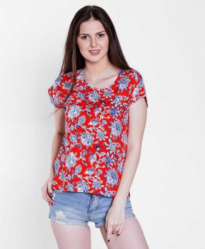 DJ &C by FBB Casual Short Sleeve Floral Print Women's Orange Top