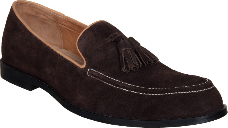 LOZANO Lozano Brown suede slip ons with tassels Loafers For Men(Brown)