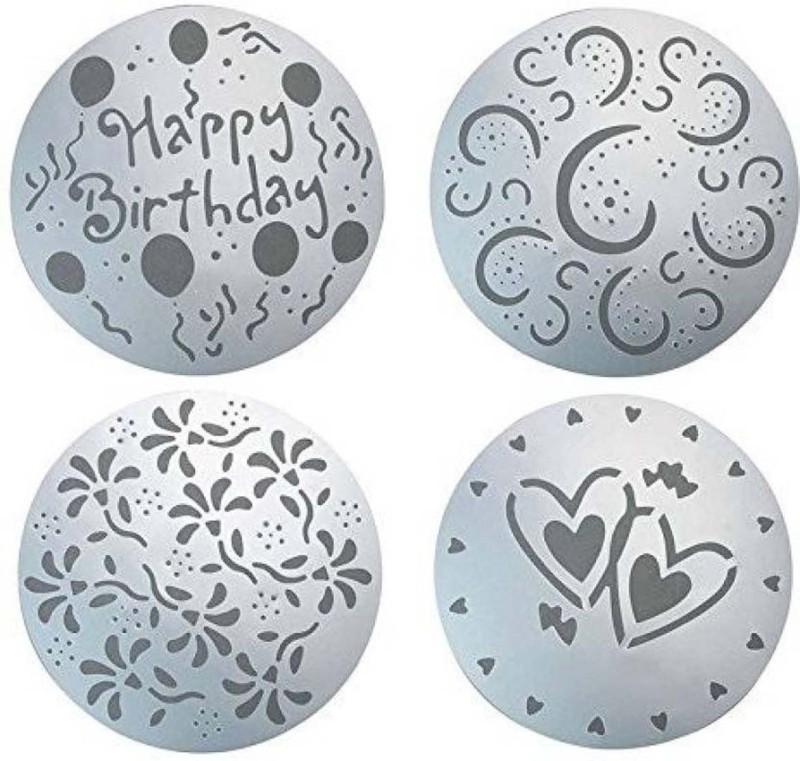 Honestystore Cake Top Stencil, Cookie Stencil, Cupcake Stencil(Pack of 4)