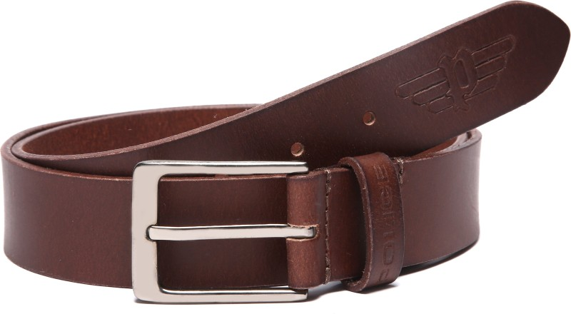 Police Men Casual Brown Genuine Leather Belt