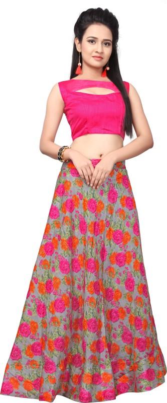 Active Floral Print Semi Stitched Lehenga Choli(Multicolor)