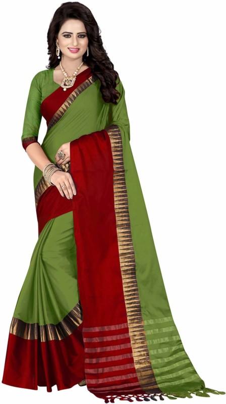 Villagius Woven Coimbatore Handloom Cotton Silk Saree(Green)