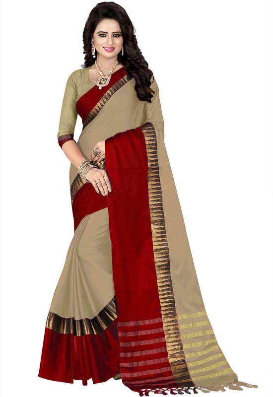 Villagius Woven Coimbatore Cotton Silk Saree(Beige, Red)
