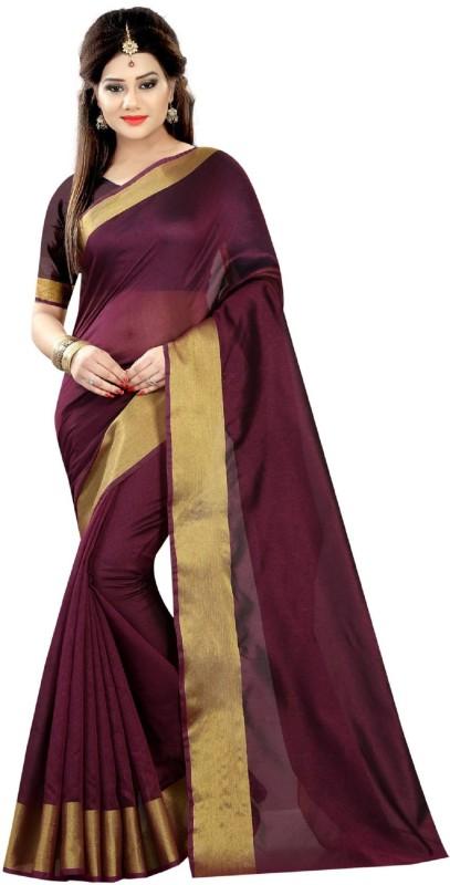 Tishnagi Designer Self Design Bollywood Cotton Linen Blend, Banarasi Silk Saree(Magenta)