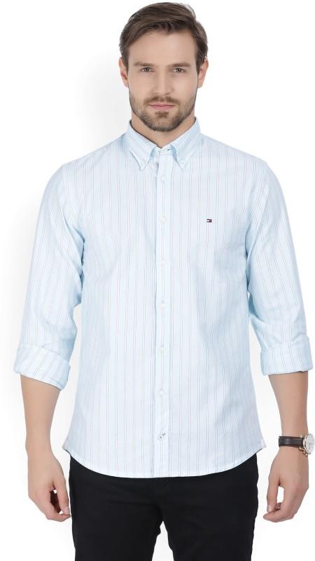 Tommy Hilfiger Men Striped Casual Light Blue Shirt