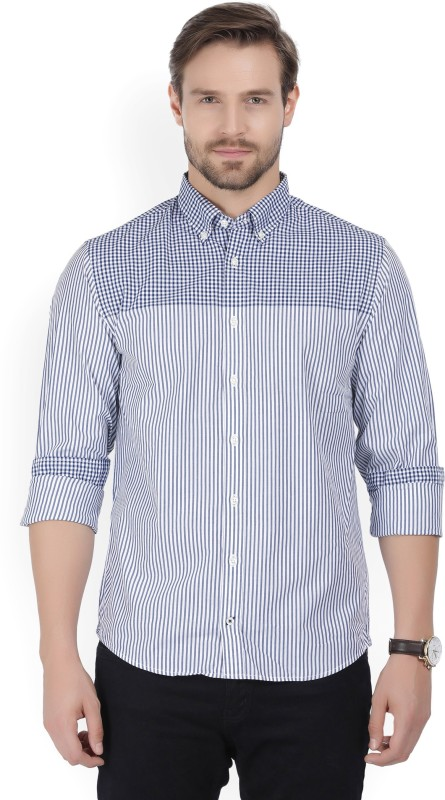 Tommy Hilfiger Men Striped Casual Blue Shirt