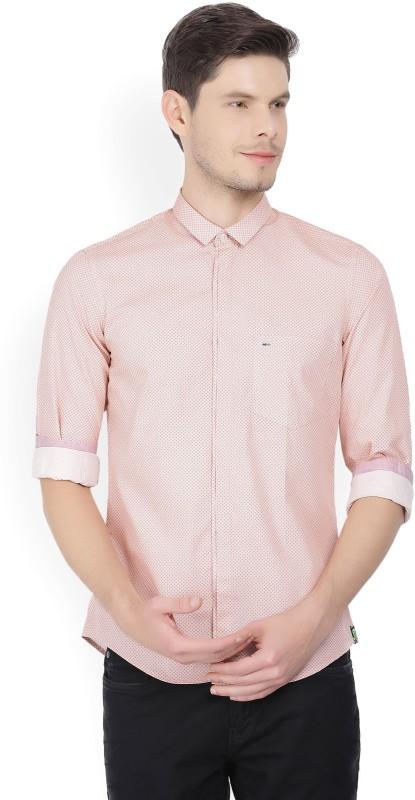 Indigo Nation Men's Printed Formal Orange Shirt