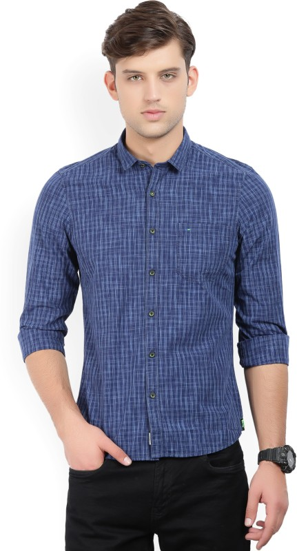 Indigo Nation Men Printed Formal Dark Blue, White Shirt
