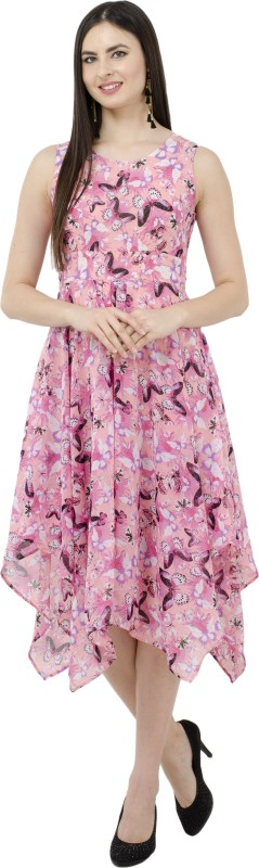 SWADESI INDIA Women's Fit and Flare Pink Dress