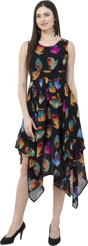 SWADESI INDIA Women's Fit and Flare Black Dress