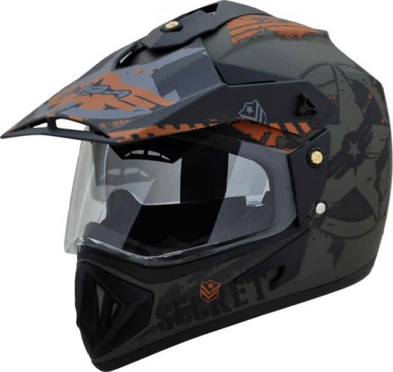 VEGA OFFROAD DV DULL BLACK GREEN Motorbike Helmet(DULL GREEN BLACK)