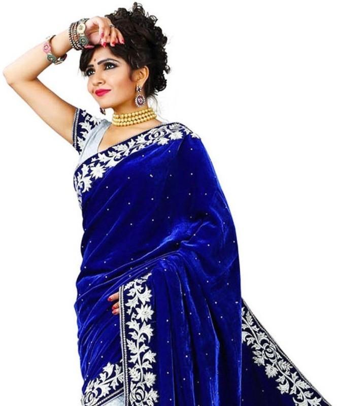 Offirra International Embroidered Kanjivaram Net, Velvet, Georgette, Chiffon Saree(Blue, White)