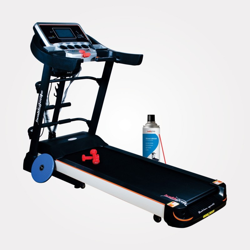Healthgenie 6in1 Motorized Treadmill 4612A with Auto Incline,Massager, Sit-ups,TummyTwister,Dumbbells 2HP DC Motor,Max Speed 16Kmph Treadmill