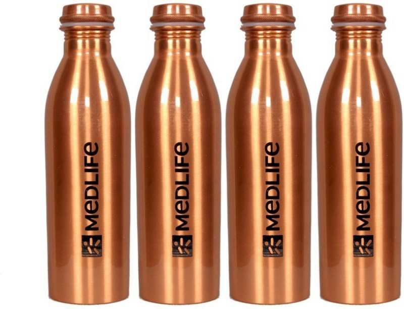 Medlife Pure Copper Water Bottle 1000 ML - (Pack of 4) 1 ml Bottle(Pack of 4, Gold)