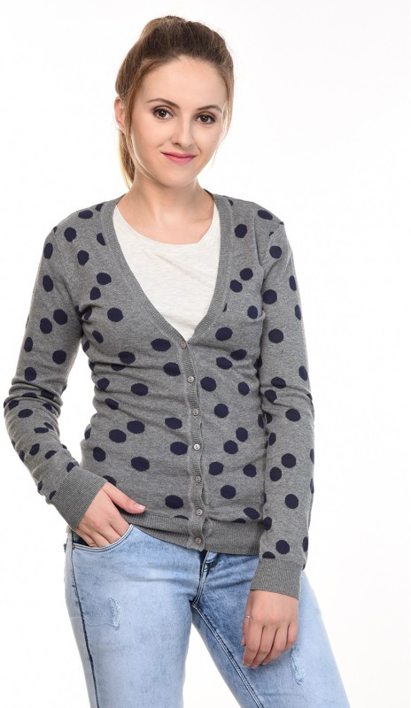 MansiCollections Womens Button Polka Print Cardigan