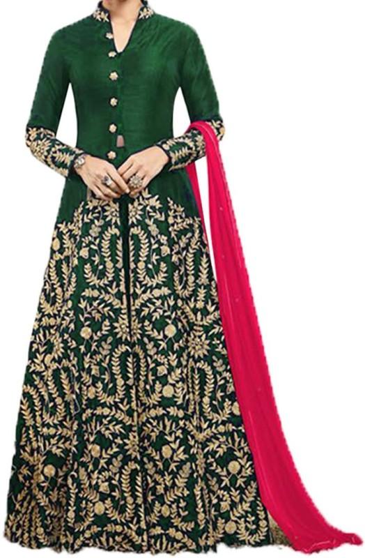 Kings Fashion Bazar Silk Embroidered Semi-stitched Salwar Suit Dupatta Material