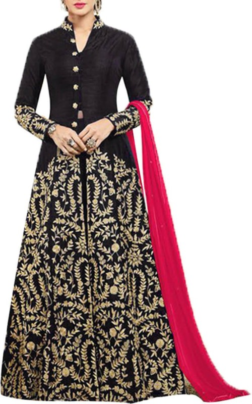 Ap Enterprise Silk Embroidered Semi-stitched Salwar Suit Dupatta Material
