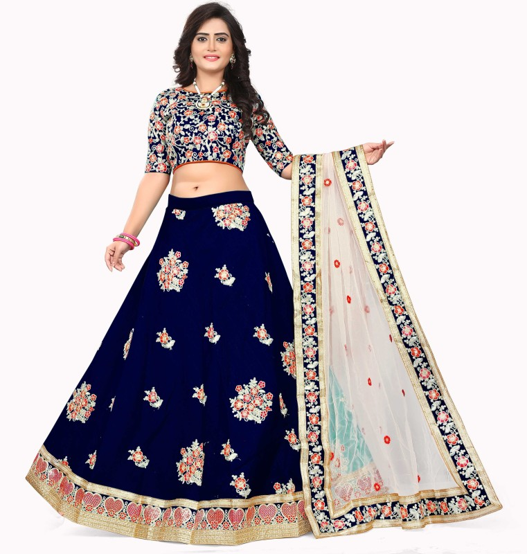 Fabcartz Embroidered Semi Stitched Lehenga Choli(Dark Blue)