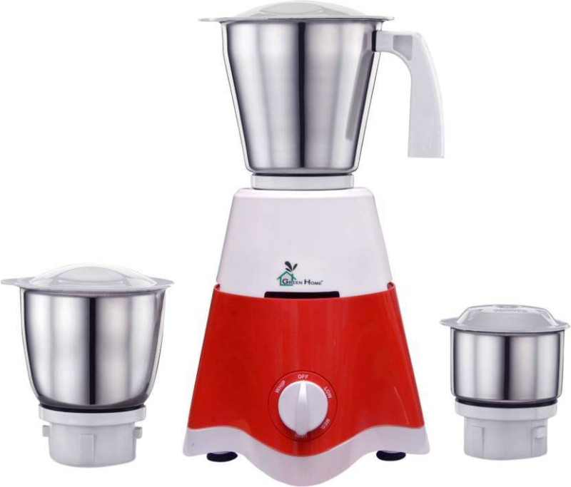 Green Home 500 Watt Mixer Grinder With 3 Stainless Steel Jars Octopus Red 2 Year Warranty 500 W Mixer Grinder(Red, 3 Jars)