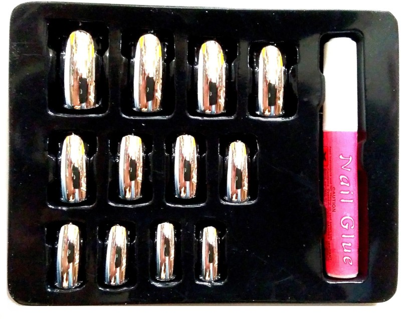 Natural artificial metallic silver shining fake nails Metallic silver(Pack of 10)
