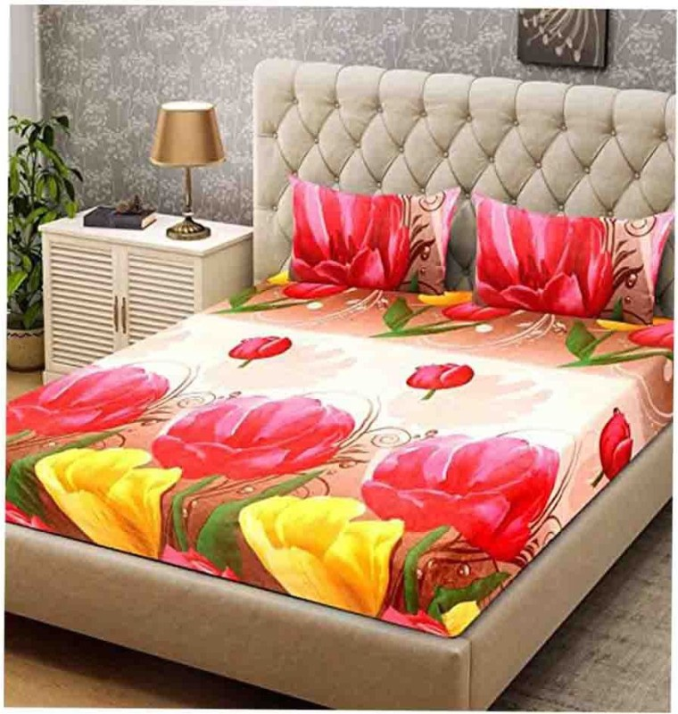 The Intellect Bazaar 160 TC Polyester Double Printed Bedsheet(Pack of 1, Red)