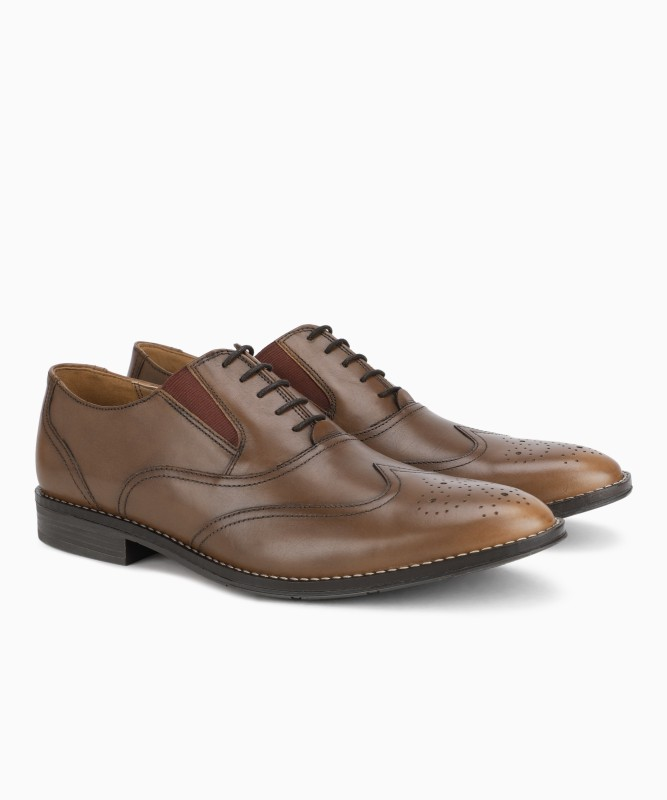 Hush Puppies BRONSON ELASTIC DERB Lace Up For Men(Brown)