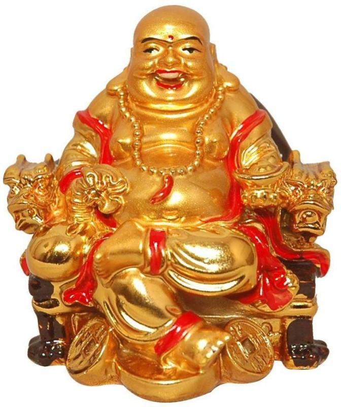 4g Laughing buddha Decorative Showpiece - 6 cm(Polyresin, Gold)