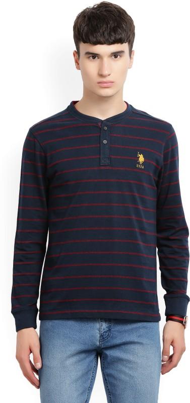 U.S. Polo Assn Striped Men Henley Blue T-Shirt