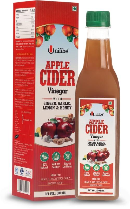 Unifibe Apple Cider Vinegar with Ginger, Garlic, Lemon & Honey (Natural, Unfiltered & With The 'Mother') Vinegar(500 ml)