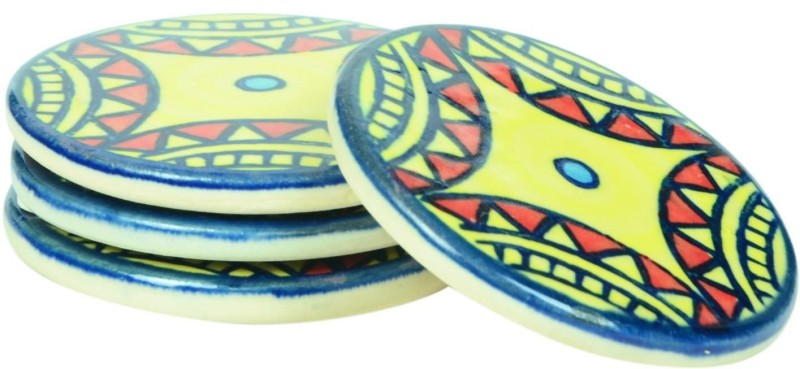 Scrafts Round Ceramic Coaster Set(Pack of 4)