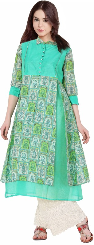 Sparsh Festive & Party Printed Women Kurti(Green)