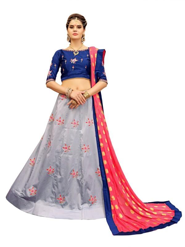 fabkaz Embroidered Semi Stitched Lehenga, Choli and Dupatta Set(Multicolor)