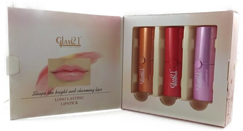 Glam 21 COLOR REVIVER LIPSTICK * LONG LASTING LIPSTICK(FLAME RED, FRUITY ORANGE, BARBIE PINK, 3 g)