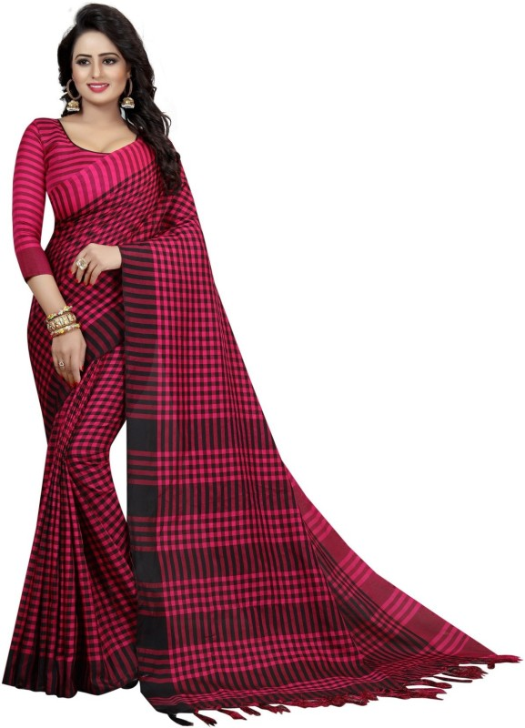 RadadiyaTRD Self Design Fashion Banarasi Silk, Cotton, Linen Saree(Red, Black)