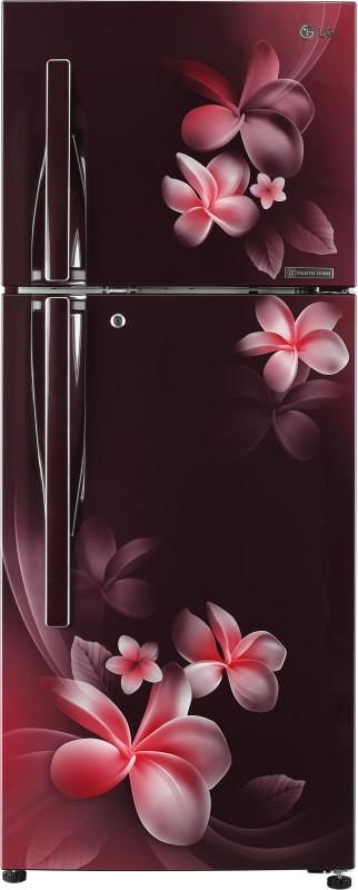 LG 308 L Frost Free Double Door 4 Star Refrigerator(Scarlet Plumeria, GL-T322RSPN)