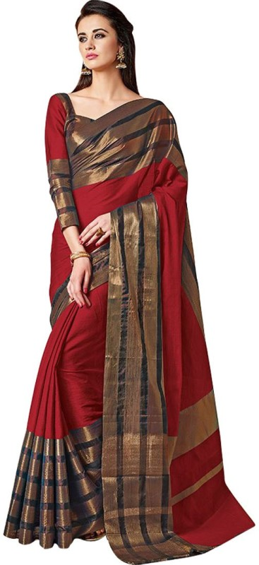 FabTag - BAPS Striped Bollywood Cotton Silk Saree(Multicolor)