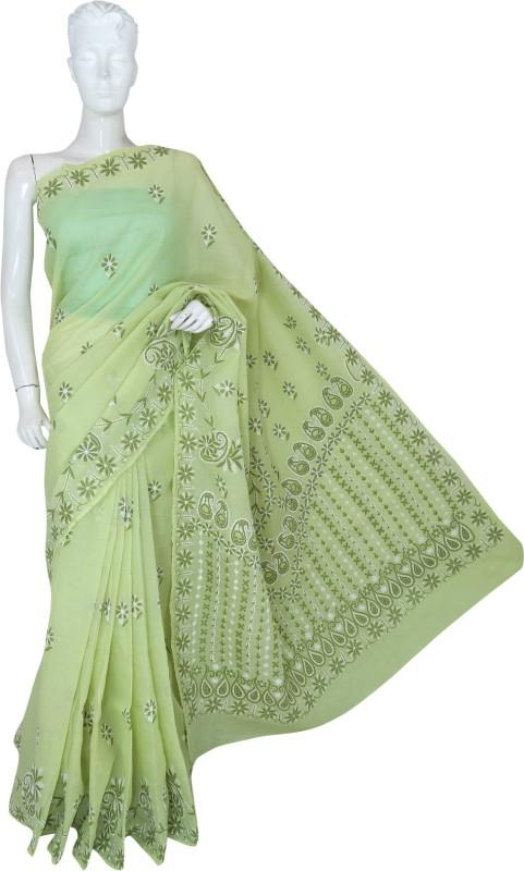 Ada Embroidered Lucknow Chikankari Handloom Cotton Saree(Green)