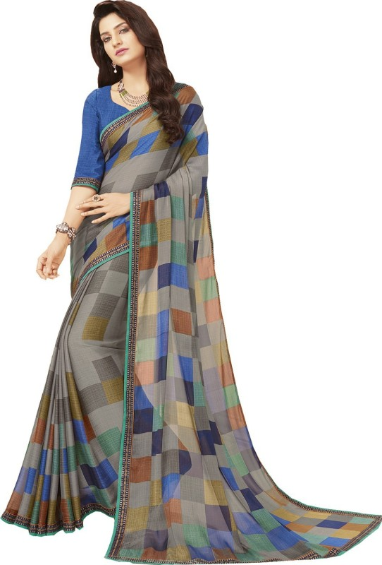 Sariya Checkered Daily Wear Crepe Saree(Blue)