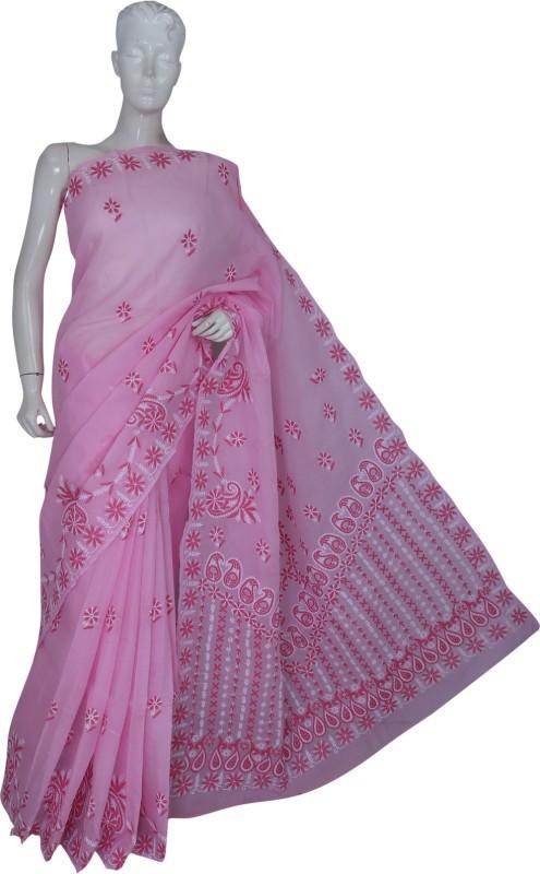 Ada Embroidered Lucknow Chikankari Cotton Saree(Pink)